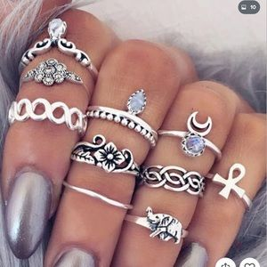 Jewelry - Woman Punk Vintage Rings Knuckle Ethnic Hippie